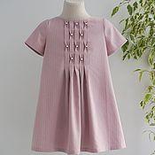 Платье ручной работы. Ярмарка Мастеров - ручная работа Детское платье розовое в полоску с буфами и бусинками. Handmade.