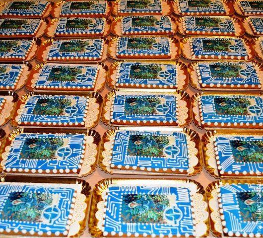 Кулинарные сувениры ручной работы. Ярмарка Мастеров - ручная работа. Купить Корпоративная пряничная открытка с логотипом компании. Handmade. Пряник