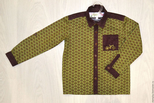 Одежда для мальчиков, ручной работы. Ярмарка Мастеров - ручная работа. Купить Рубашка детская (200414). Handmade. Хаки, подарок, осень