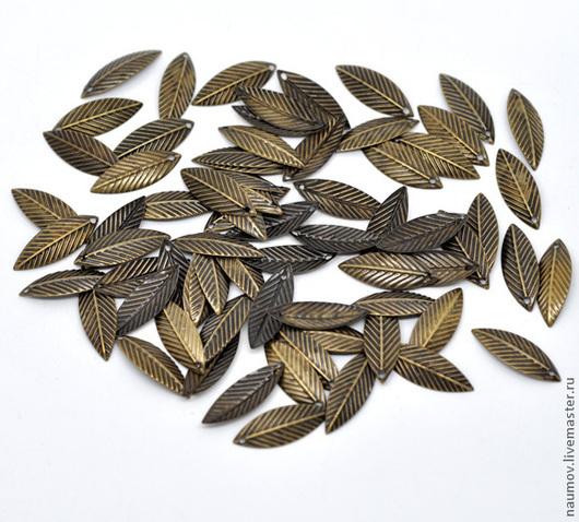 №6 - ЛИСТИК, штамповка - под античную бронзу - 21мм