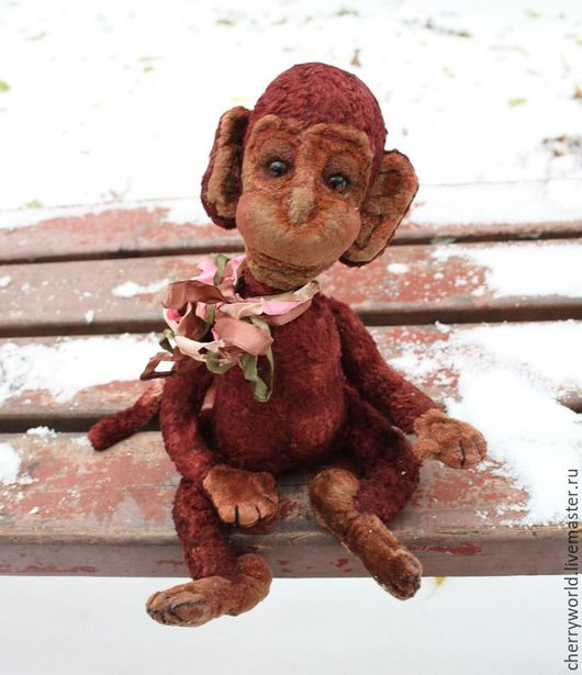 Мишки Тедди ручной работы. Ярмарка Мастеров - ручная работа. Купить Обезьянка. Handmade. Бордовый, обезьянка тедди, обезьяны