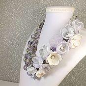 Украшения handmade. Livemaster - original item Necklace: Lilac Dawn Natural Stones Amethyst Moon Agate Flowers. Handmade.