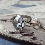 Украшения handmade. Livemaster - original item Ring with Swarovski crystal Silver Night. Handmade.
