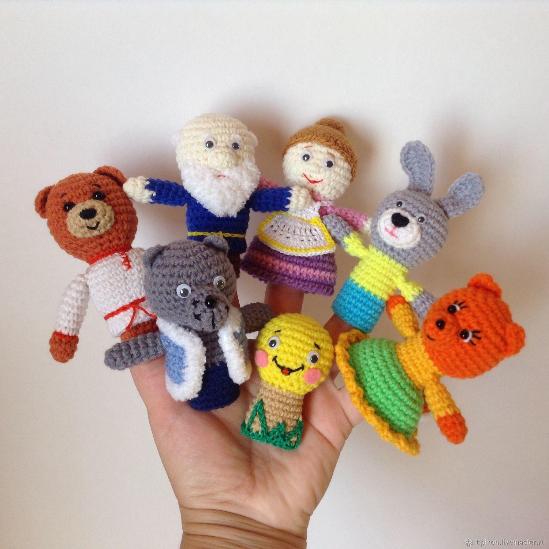 сказка колобок пальчиковый театр вязаные игрушки герои русских