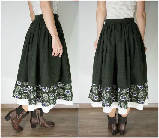Юбки ручной работы. Ярмарка Мастеров - ручная работа. Купить Шерстяная юбка с оборками. Handmade. Тёмно-зелёный, юбкабохо, лён