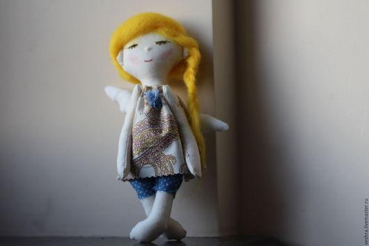 Коллекционные куклы ручной работы. Ярмарка Мастеров - ручная работа. Купить Текстильная кукла- Ангел Санни. Handmade. Желтый