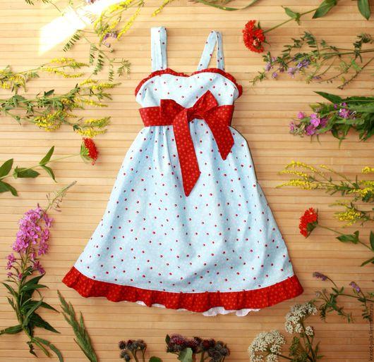 Одежда для девочек, ручной работы. Ярмарка Мастеров - ручная работа. Купить Красный горошек. Платье сарафан для девочки, детское. Handmade.