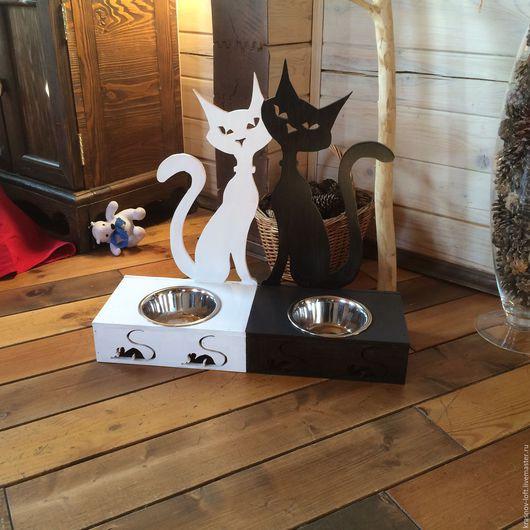 Аксессуары для кошек, ручной работы. Ярмарка Мастеров - ручная работа. Купить Подставка под миски. Handmade. Домашние животные, фанера