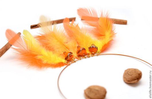 Колье, бусы ручной работы. Ярмарка Мастеров - ручная работа. Купить Колье Жар-птица. Handmade. Оранжевый, 8 марта