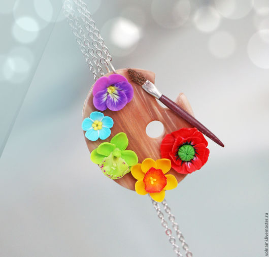 """Кулоны, подвески ручной работы. Ярмарка Мастеров - ручная работа. Купить """"Палитра цветов"""" кулон. Handmade. Кулон, мак, палитра"""