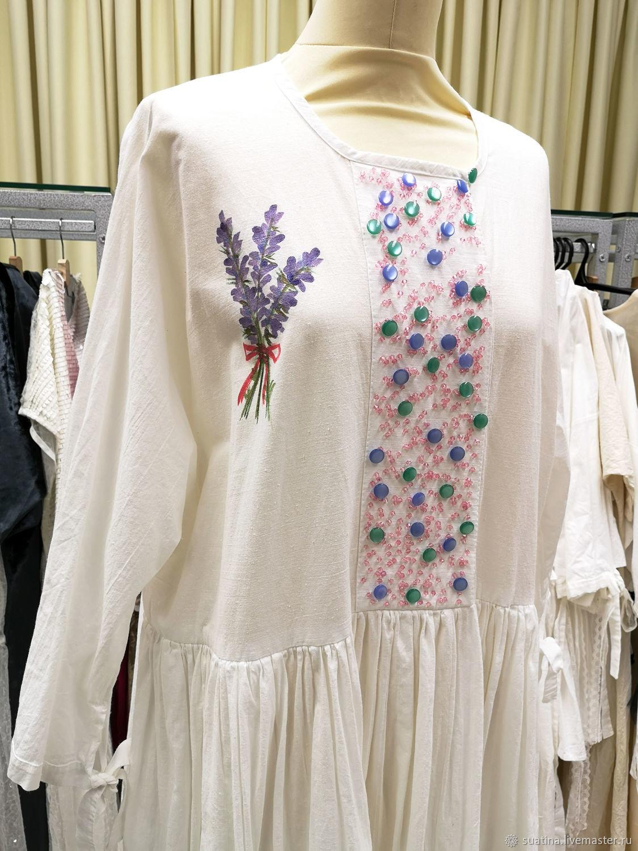 Платье с росписью из испанского хлопка #7, Платья, Пермь,  Фото №1