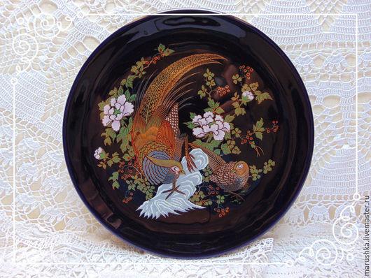 Винтажная посуда. Ярмарка Мастеров - ручная работа. Купить Винтажное кобальтовое блюдо Райские птицы, Япония. Handmade. Тёмно-синий