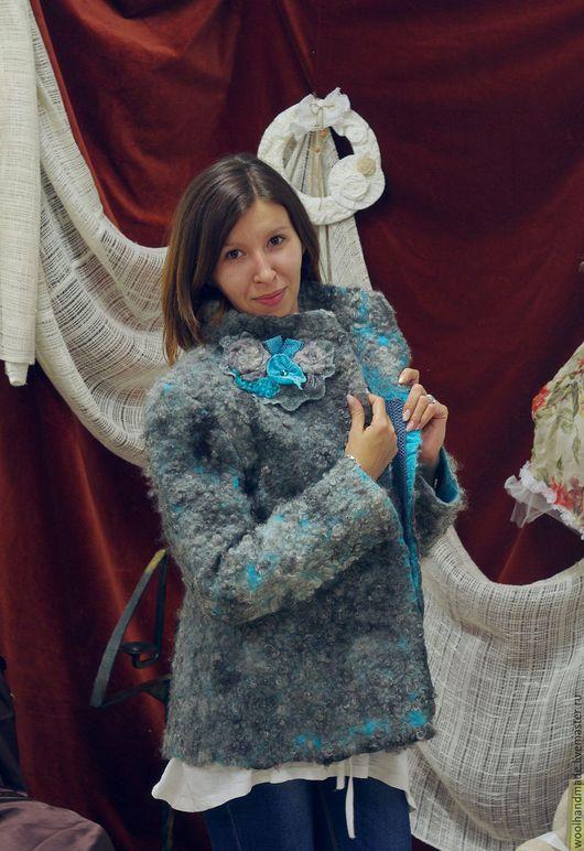 Верхняя одежда ручной работы. Ярмарка Мастеров - ручная работа. Купить Куртка  из шерсти серо-бирюзовая. Handmade. Куртка