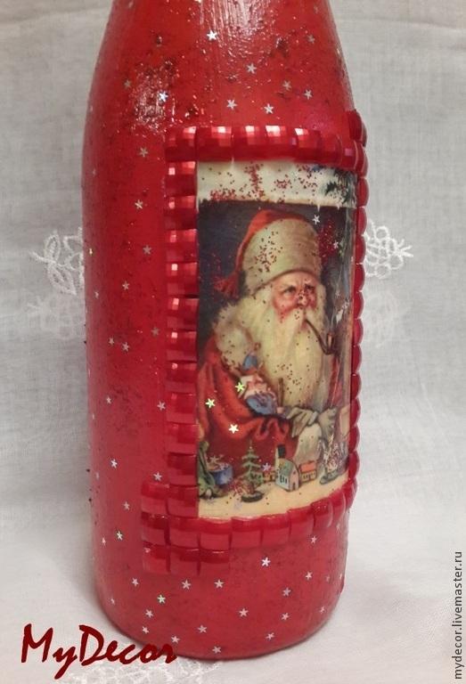 Декорированная бутылка к новогоднему столу или в подарок близким.