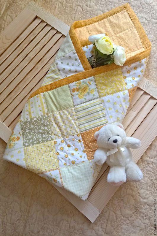 Для новорожденных, ручной работы. Ярмарка Мастеров - ручная работа. Купить Лоскутное одеяло конверт Лето. Handmade. Оранжевый