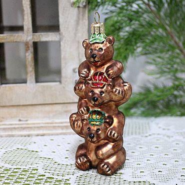 Винтаж ручной работы. Ярмарка Мастеров - ручная работа Старинная елочная игрушка Цирковые медведи. Handmade.