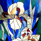 Для дома и интерьера handmade. Livemaster - original item Irises. Stained glass. Handmade.