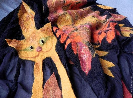 Шали, палантины ручной работы. Ярмарка Мастеров - ручная работа. Купить палантин ОСЕНЬ-рыжая кошка. Handmade. Осенние листья
