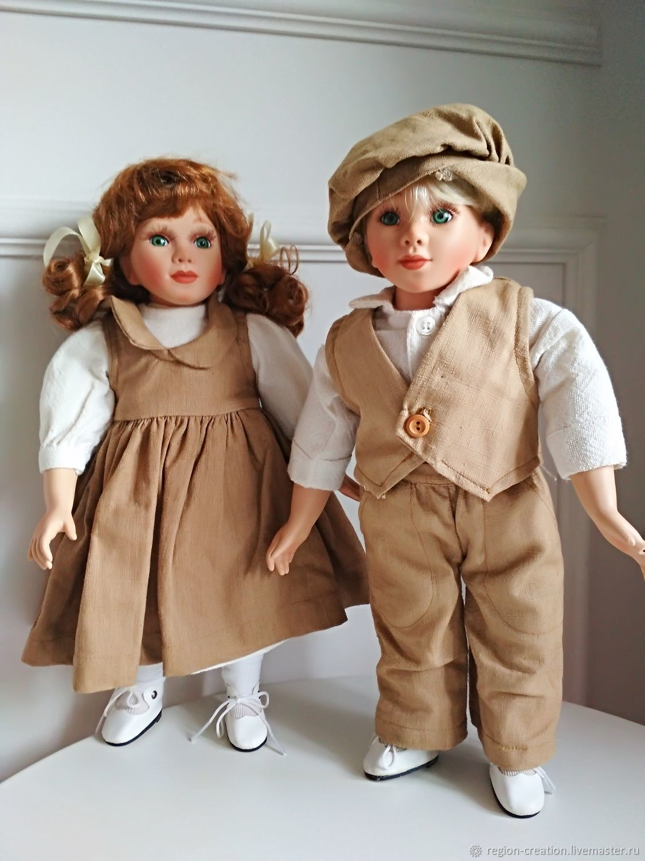 Винтаж: Фарфоровые куклы: братик и сестричка, винтаж, Куклы винтажные, Калининград,  Фото №1