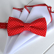 Галстуки ручной работы. Ярмарка Мастеров - ручная работа Галстук-бабочка Белый горошек на красном из хлопка. Handmade.