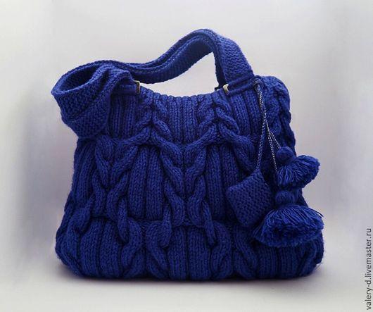 Женские сумки ручной работы. Ярмарка Мастеров - ручная работа. Купить сумка вязаная араны MIDNIGHT BLUE косы. Handmade.