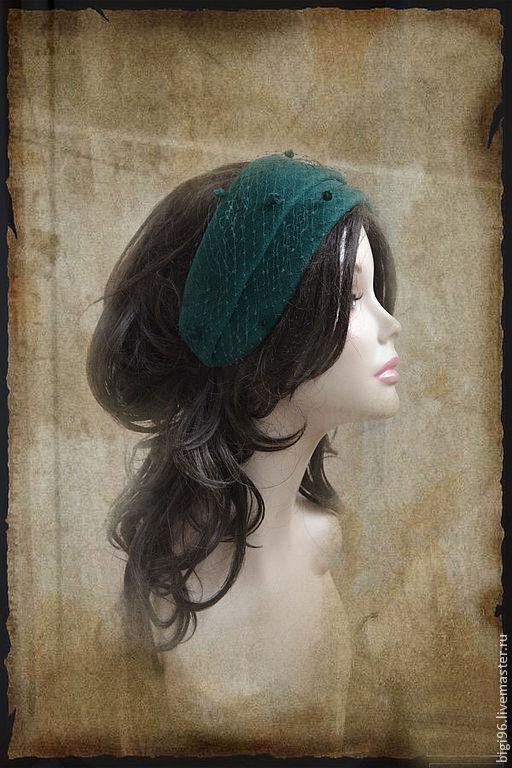 """Шляпы ручной работы. Ярмарка Мастеров - ручная работа. Купить Шляпка """"Изумруд"""". Handmade. Тёмно-зелёный, шляпка с вуалью"""