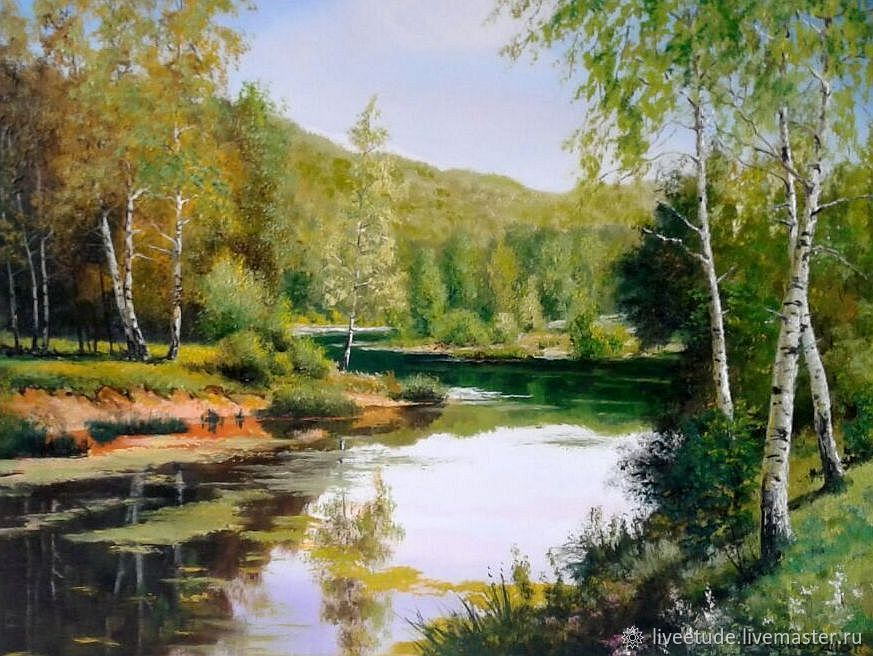 The fair masters, the Birch, oil on canvas summer landscape artist Vladimir Chernov, novelty, picture, picture for the interior, as a gift for the soul