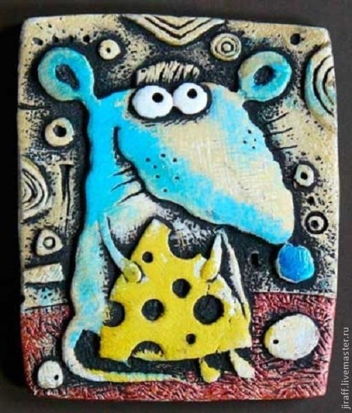 """Магниты ручной работы. Ярмарка Мастеров - ручная работа. Купить """"крыса с сыром"""". Handmade. Крыска, крыса, магнит на холодильник"""
