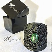 Украшения handmade. Livemaster - original item A leather bracelet malachite. Handmade.