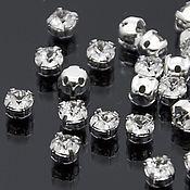 Материалы для творчества ручной работы. Ярмарка Мастеров - ручная работа Chaton Montees 4mm Crystal в оправе пришивные стразы Сваровски 15 шт. Handmade.