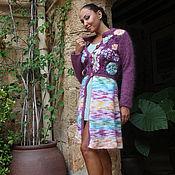 Одежда ручной работы. Ярмарка Мастеров - ручная работа Кариган вязаный крючком фиолетовый шик. Handmade.