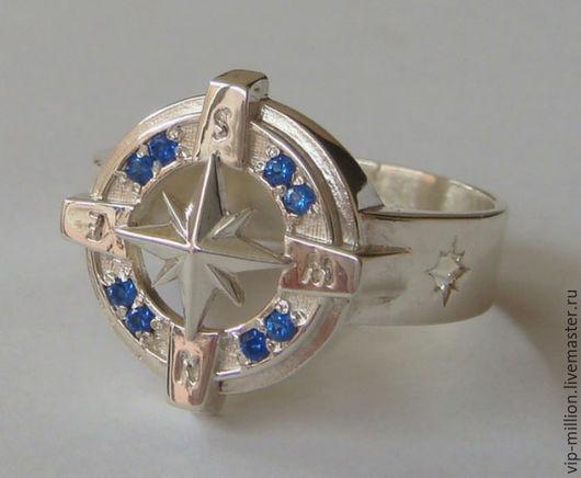"""Украшения для мужчин, ручной работы. Ярмарка Мастеров - ручная работа. Купить Серебряное мужское кольцо """" компас"""" с сапфирами (лаб). Handmade."""