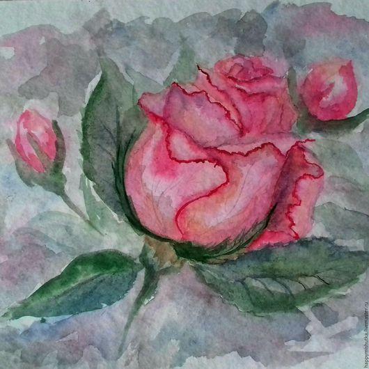 Картины цветов ручной работы. Ярмарка Мастеров - ручная работа. Купить Акварельная роза. Handmade. Роза, цветочный, бутон