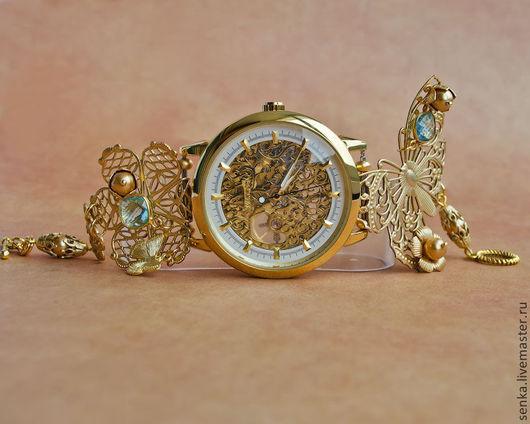 """Часы ручной работы. Ярмарка Мастеров - ручная работа. Купить Часы-скелетоны """" Aurorina"""" наручные РЕЗЕРВ. Handmade. Золотой"""