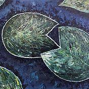 """Картины ручной работы. Ярмарка Мастеров - ручная работа Картина маслом """"Листья водяной лилии"""". Handmade."""