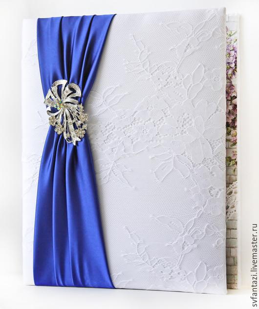 """Свадебные аксессуары ручной работы. Ярмарка Мастеров - ручная работа. Купить Папка для свидетельства """"White & dark blue"""". Handmade."""