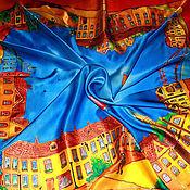 """Аксессуары ручной работы. Ярмарка Мастеров - ручная работа Платок батик """"Городок"""". Handmade."""