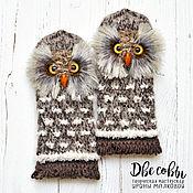 Аксессуары handmade. Livemaster - original item Owl mittens brown. Handmade.
