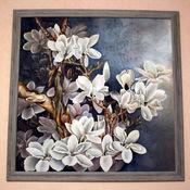 """Картины и панно ручной работы. Ярмарка Мастеров - ручная работа """"Белые магнолии"""". Handmade."""