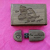 Сувениры и подарки handmade. Livemaster - original item Wooden flash drive with engraving, any design. Handmade.