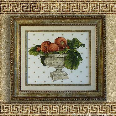 Картины и панно ручной работы. Ярмарка Мастеров - ручная работа Вышивка крестом Гранатовый натюрморт. Handmade.