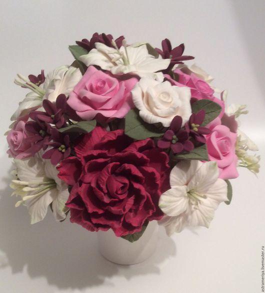 Цветочная композиция, букет с цветами из полимерной глины, подарок, подарок на день рождения, Букет цветов, букет для интерьера, букет с цветами из полимерной глины.