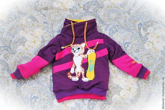 """Одежда для девочек, ручной работы. Ярмарка Мастеров - ручная работа. Купить Очень-очень теплый двусторонний  свитшот """"Лео""""-2. Handmade."""