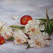 Картины и панно ручной работы. Ярмарка Мастеров - ручная работа Пионы и яблоки. Handmade.