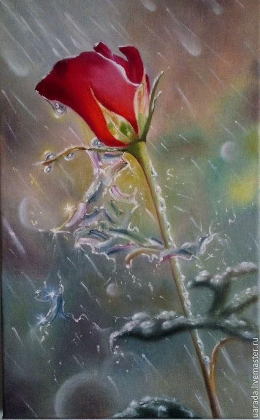 """Картины цветов ручной работы. Ярмарка Мастеров - ручная работа. Купить """"Роза в каплях дождя"""" - картина маслом.. Handmade."""