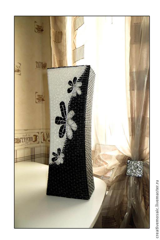 """Вазы ручной работы. Ярмарка Мастеров - ручная работа. Купить Напольная ваза """"Тайна"""". Handmade. Чёрно-белый, Стильная, мозаика"""