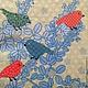 Цветные птички на ветках, нежно-зеленый фон Салфетка для декупажа Декупажная радость
