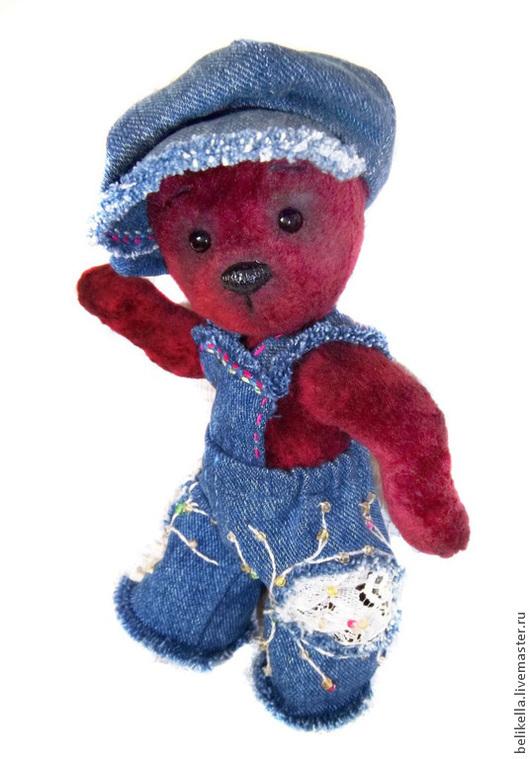 """Мишки Тедди ручной работы. Ярмарка Мастеров - ручная работа. Купить """"Филя"""" 21см Мишка из винтажного плюша. Handmade. Бордовый"""