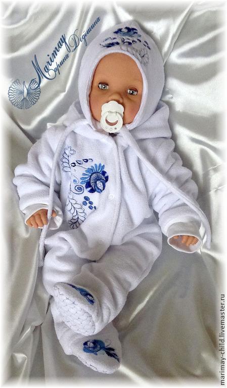 """Для новорожденных, ручной работы. Ярмарка Мастеров - ручная работа. Купить Комплект одежды для новорождённого """"Гжелечка"""". Handmade. Новорожденным, гжель"""