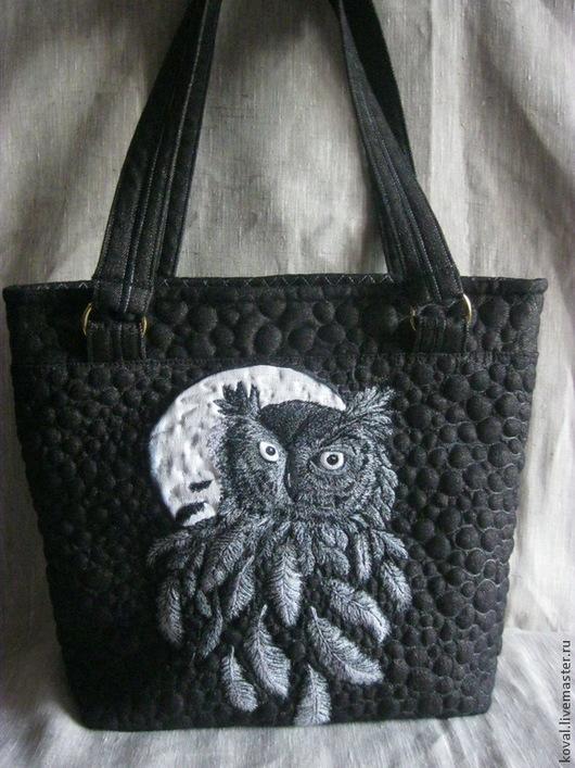 Женские сумки ручной работы. Ярмарка Мастеров - ручная работа. Купить Джинсовая сумка Ночной дозор вышивка машинная квилтинг. Handmade.